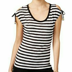 Michael Kors Striped Cold Shoulder Tie Top Small
